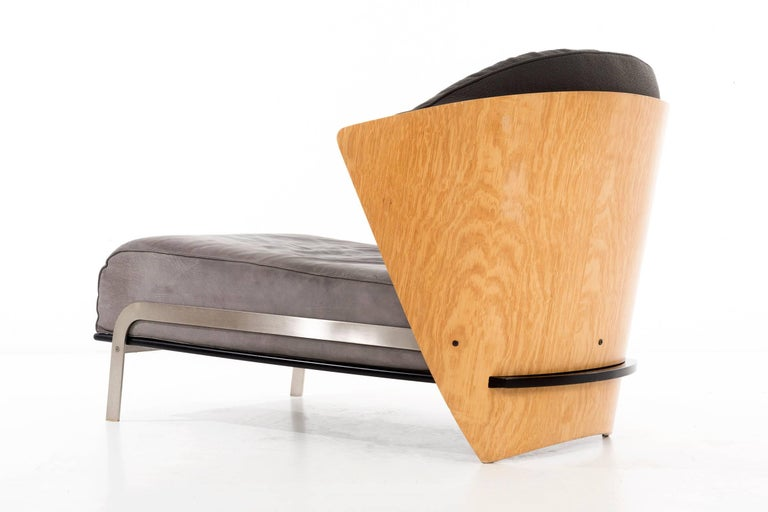 Italian Bentwood and Leather Chaise by Franco Raggi For Sale 1