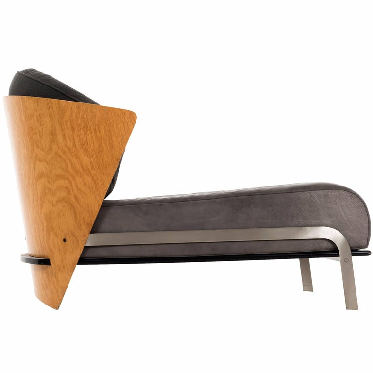 Italian Bentwood and Leather Chaise by Franco Raggi