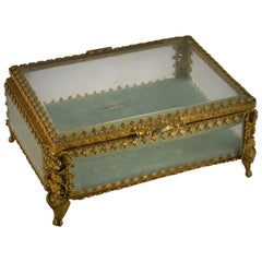 Italian Beveled Glass and Gilt Brass Box