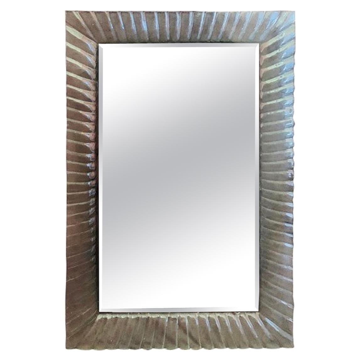 Italian Beveled Mirror Framed with Murano Style Art Glass