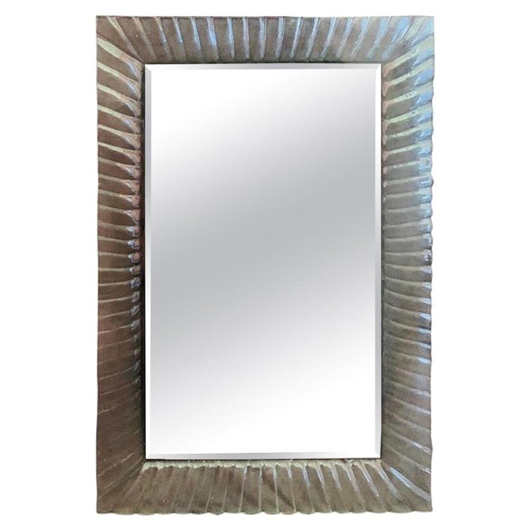 Italian Beveled Mirror Framed with Murano Style Art Glass For Sale
