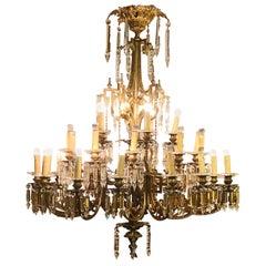 Italian Big Chandelier Gilded Bronze Crystal Pendent 16-Light Cinderella Film