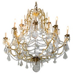 Italian Big Chandelier Gilded Bronze Crystal Pendent 20-Light Florence Palace