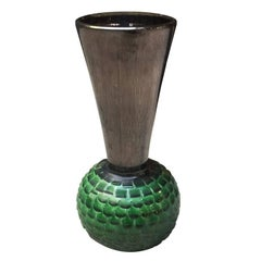 Italian Big Green Ceramic Vase, 1940