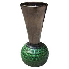 Italian Big Green Ceramic Vase, 1940
