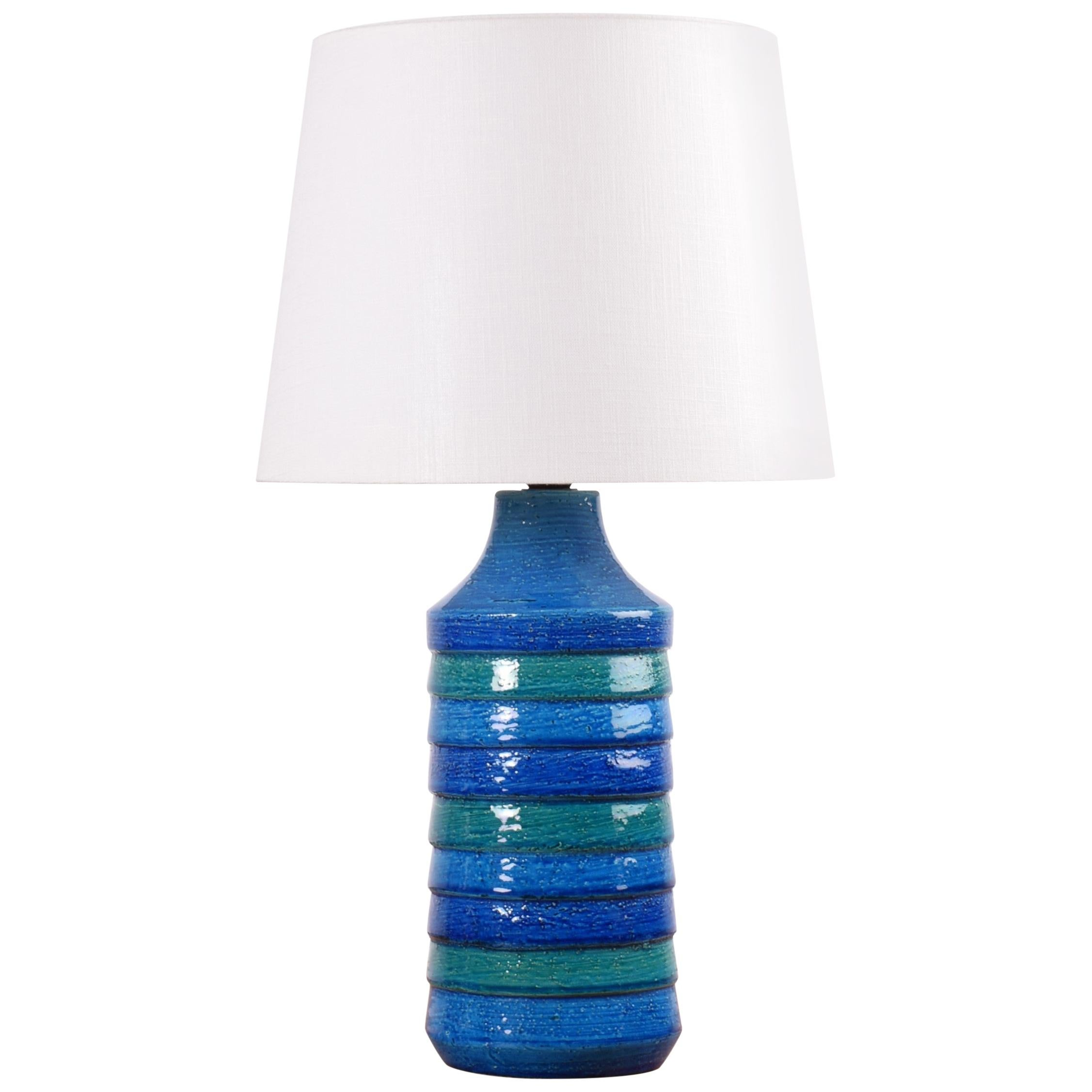 Italian Bitossi Ceramic Table Lamp Turquoise Blue Stripes with Lamp Shade, 1960s