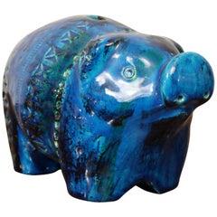 Italian Bitossi Rimini Blu Glazed 'Piggy' Money Box, Designer Aldo Londi