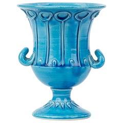 Italian Bitossi Twin Handled Pottery Campana Turquoise Glazed Vase, circa 1950