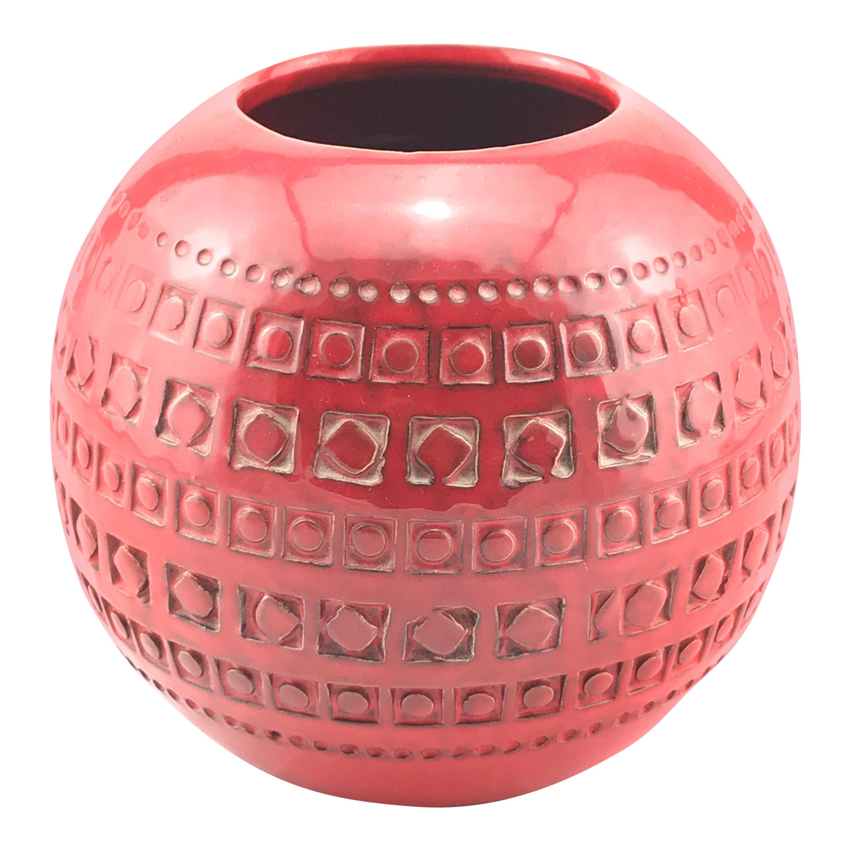 Mid Century Italian Ceramic Spherical Red Vase By Bitossi, 1960s