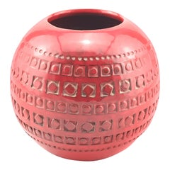 Mid Century Italian Ceramic Spherical Red Vase By Bitossi, 1960s