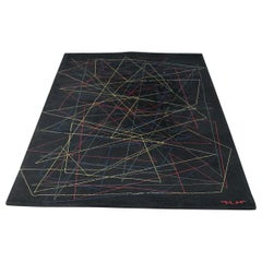 Italian Black and Colored Geometric Carpet from 1980s