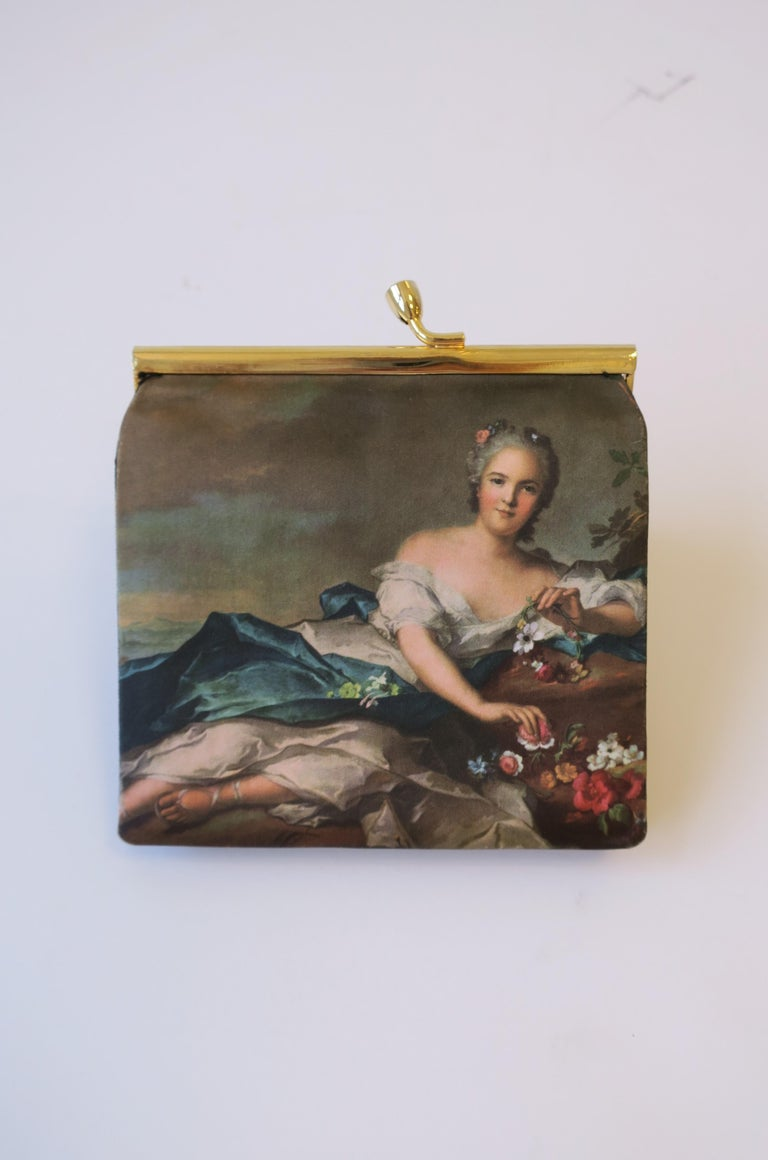 Italian Black and Gold Change Purse Wallet with 18th Century Oil Painting Design For Sale 3