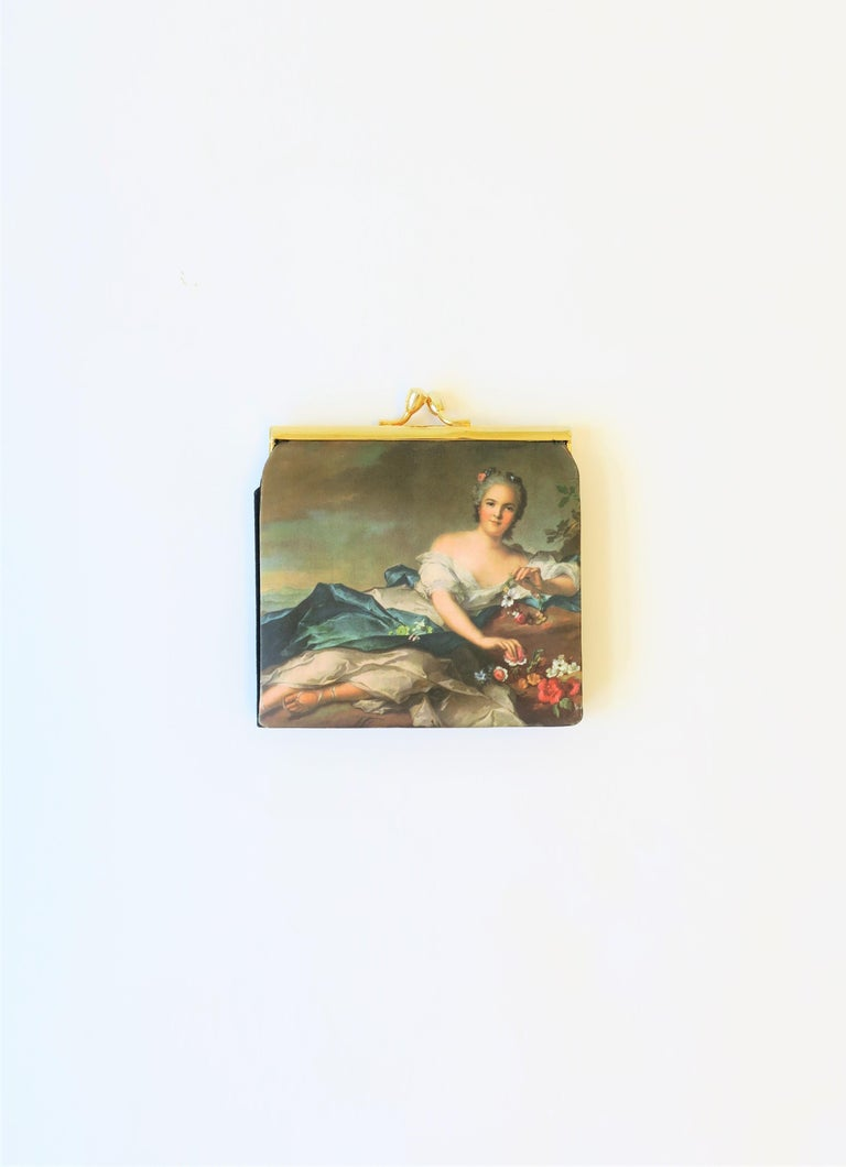 A beautiful and chic Italian black grosgrain and satin change and bill purse wallet with 18th century oil painting design on front. Purse appears to have never been used. Marked