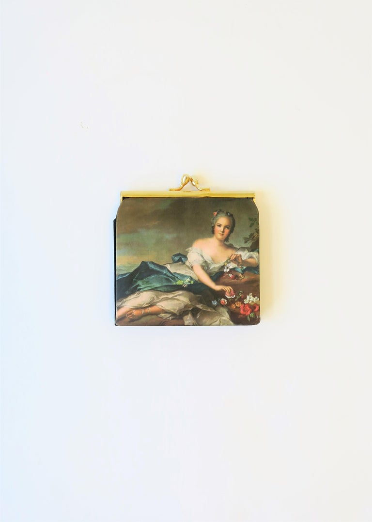 Renaissance Revival Italian Black and Gold Change Purse Wallet with 18th Century Oil Painting Design For Sale