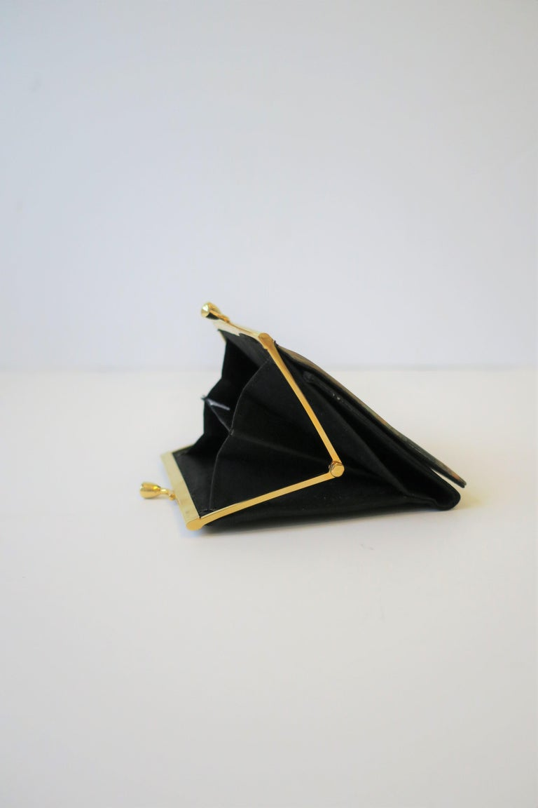 20th Century Italian Black and Gold Change Purse Wallet with 18th Century Oil Painting Design For Sale