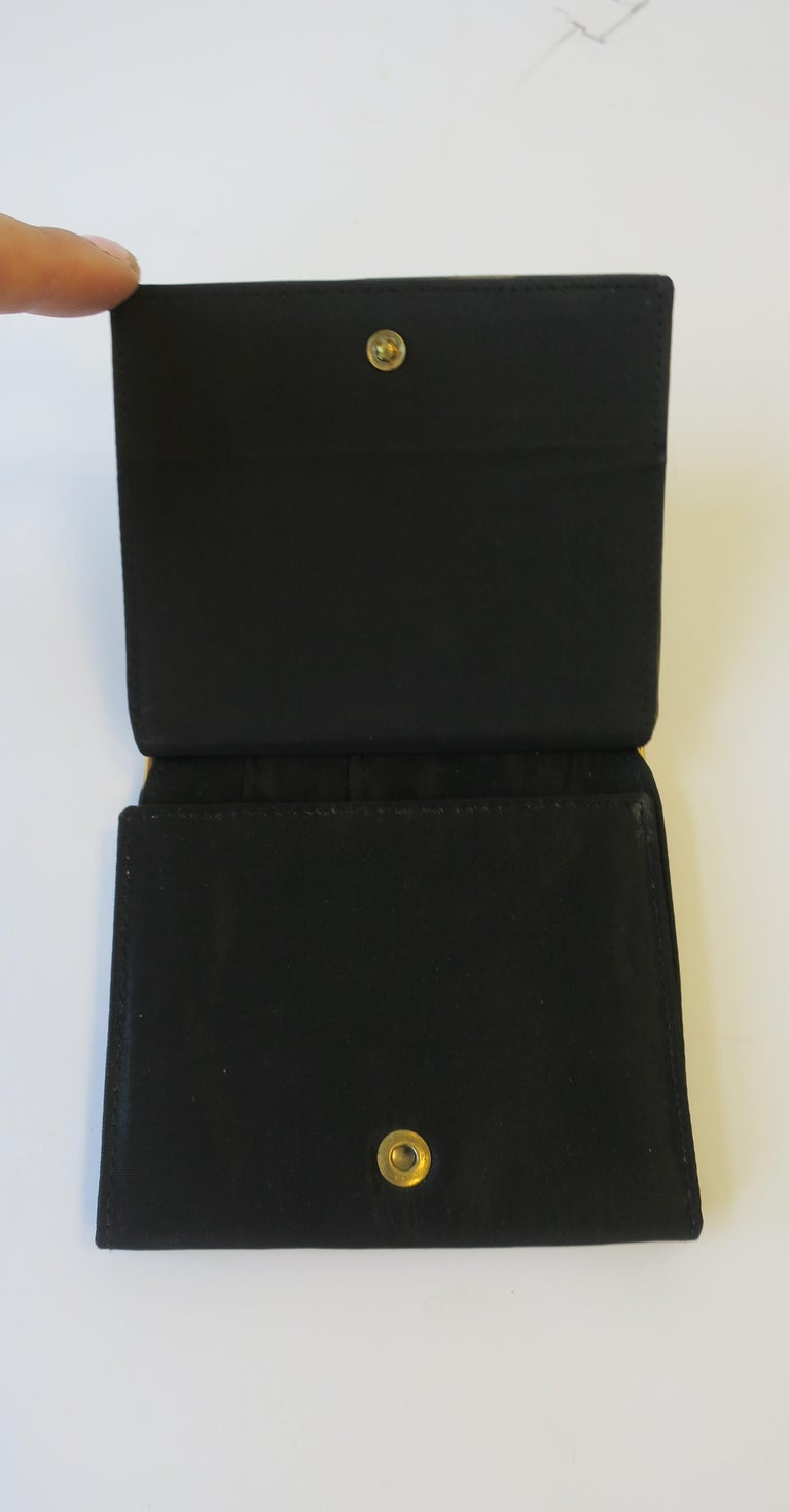 Italian Black and Gold Change Purse Wallet with 18th Century Oil Painting Design For Sale 2