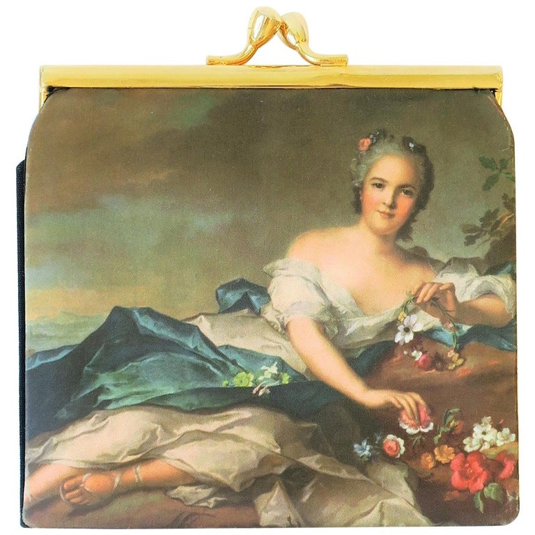 Italian Black and Gold Change Purse Wallet with 18th Century Oil Painting Design For Sale