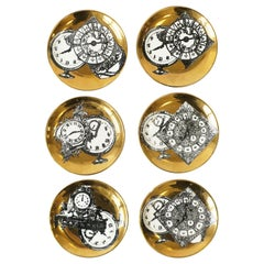 Italian Black and Gold Cocktail Coasters by Piero Fornasetti, Set of 6