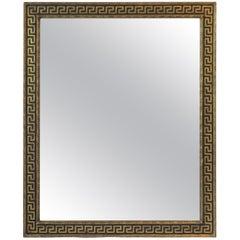 Italian Black and Gold Giltwood Mirror with Greek-Key Design