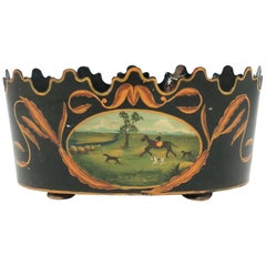 Italian Black and Gold Tole Planter Jardinière Cachepot with Horse & Dog Scene