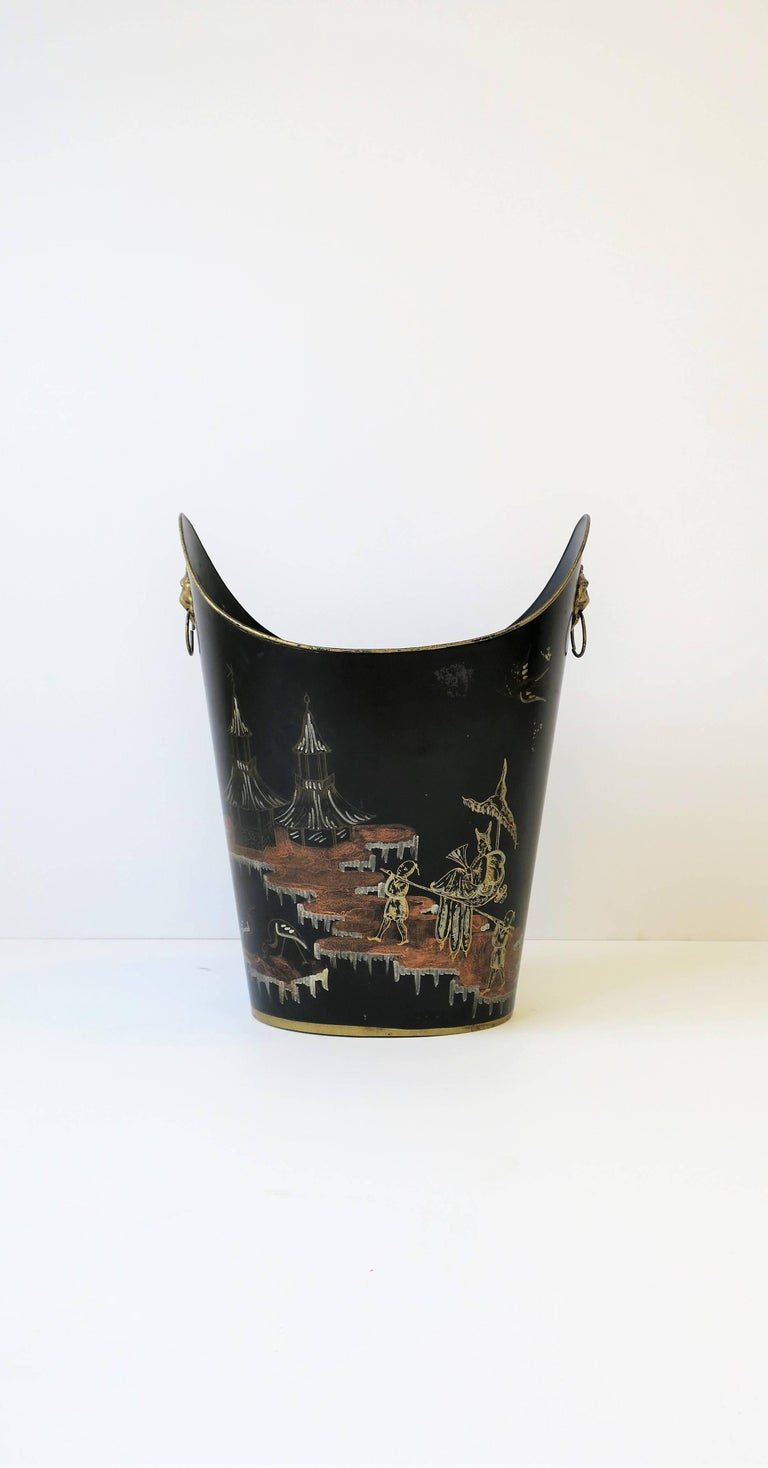 Italian Black And Gold Wastebasket Or Trash Can At 1stdibs