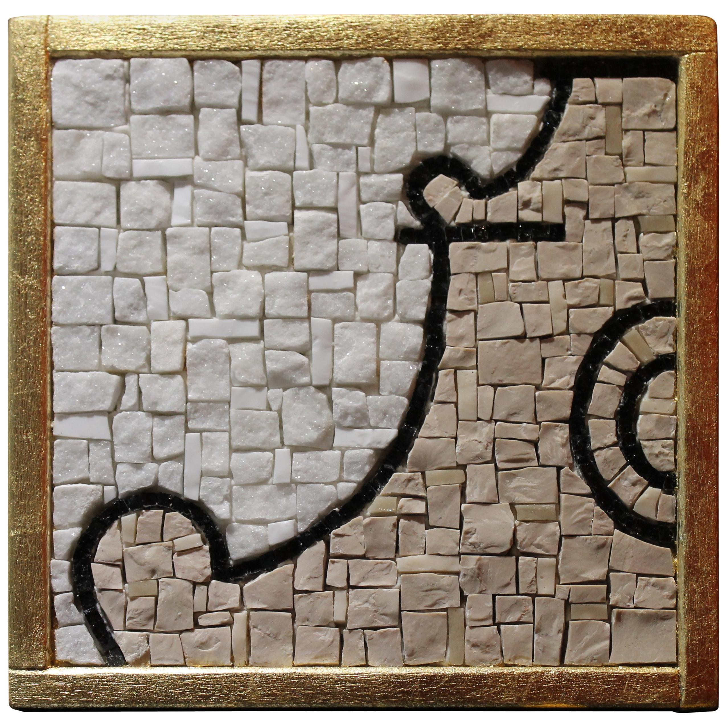 Italian Black and White Carrara Marble Mosaic Tiles with Florentine Monuments
