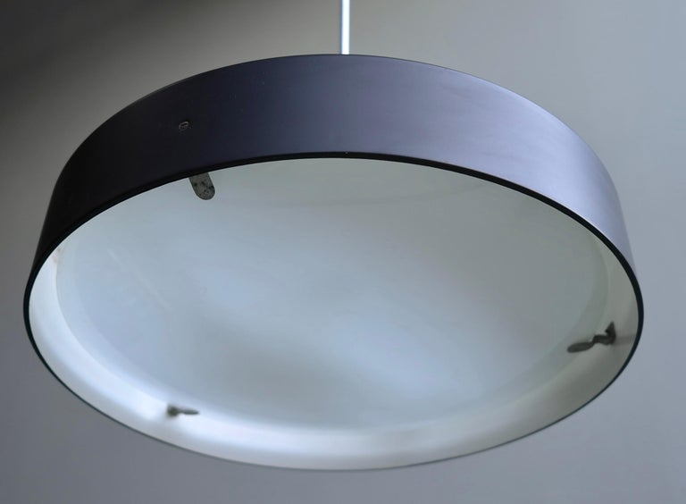 Mid-Century Modern Italian Black and White Chandelier, Metal with Curved Opaline Glass, Italy, 1955 For Sale