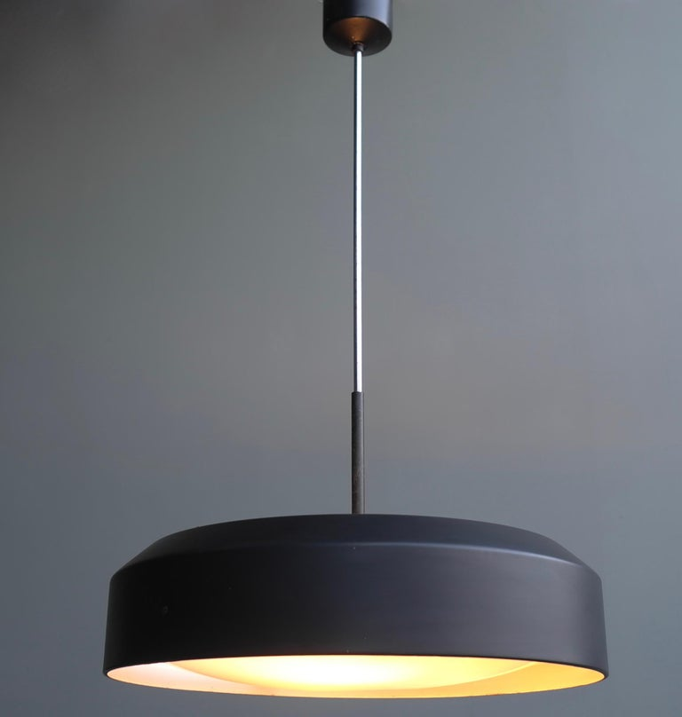 Italian Black and White Chandelier, Metal with Curved Opaline Glass, Italy, 1955 For Sale 2