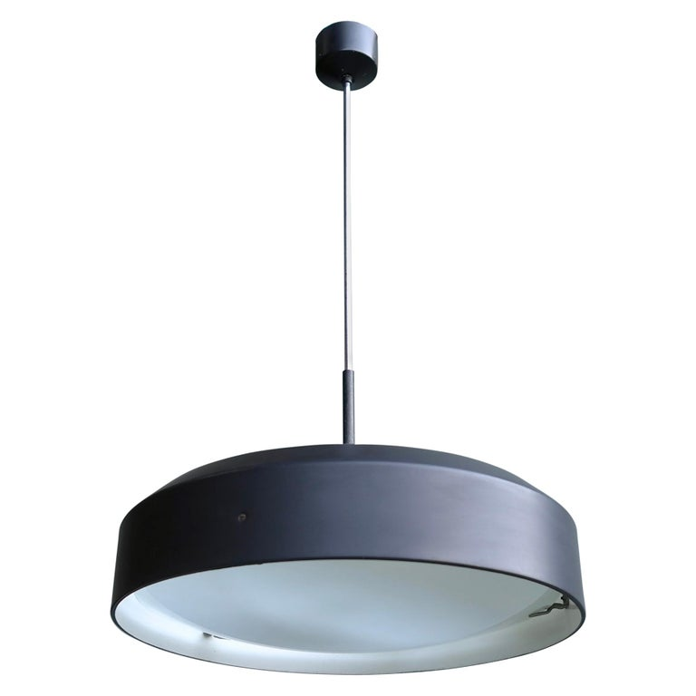 Italian Black and White Chandelier, Metal with Curved Opaline Glass, Italy, 1955 For Sale