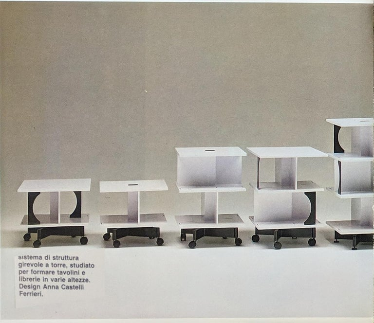 Italian Black and White Coffee Table by Anna Castelli Ferrieri for Kartell, 1980 5