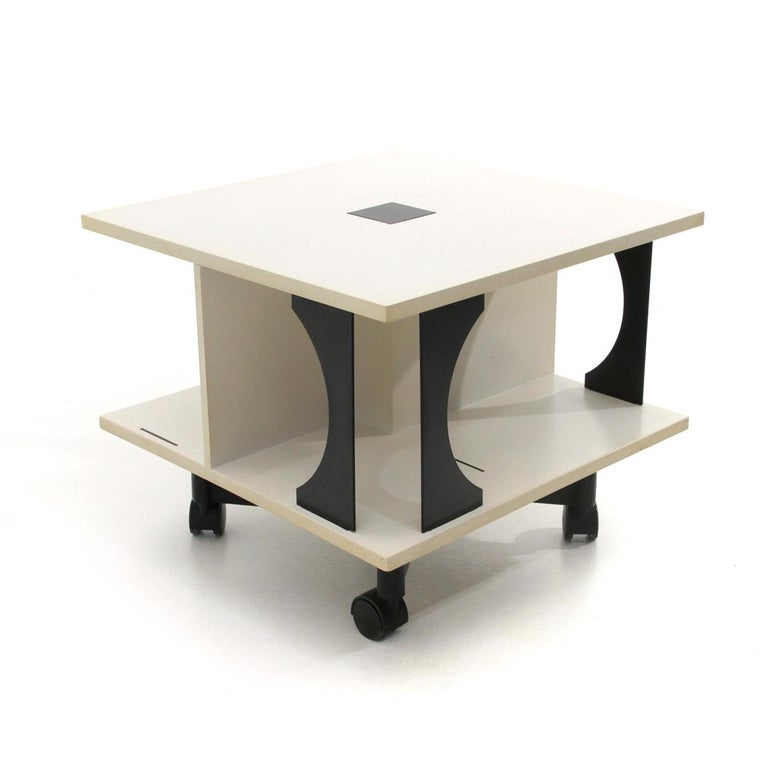 Mid-Century Modern Italian Black and White Coffee Table by Anna Castelli Ferrieri for Kartell, 1980