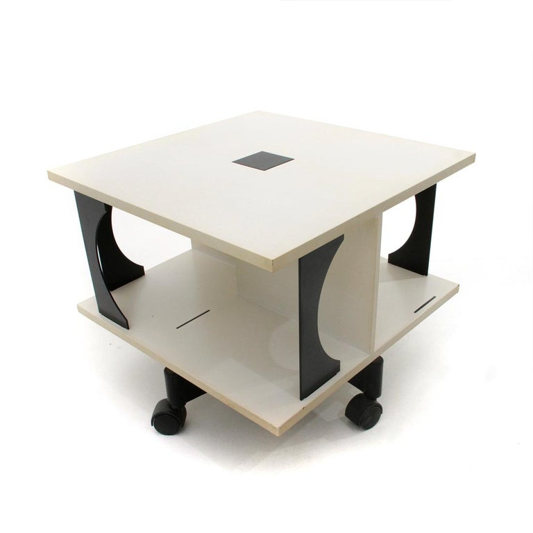 Glass Italian Black and White Coffee Table by Anna Castelli Ferrieri for Kartell, 1980