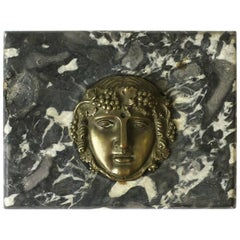 Italian Black and White Marble & Brass Face Decorative Sculpture or Paperweight