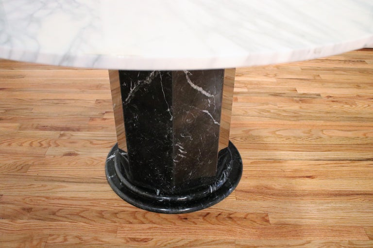 Late 20th Century Italian Black and White Marble Pedestal Table, 1970s For Sale