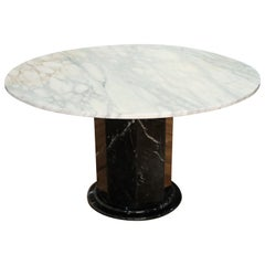 Italian Black and White Marble Pedestal Table, 1970s