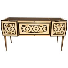 Murano Black and White Tinted Glass Commode Or Sideboard With Brass Hardware