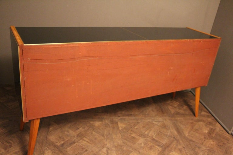 Italian Black and White Sideboard or Credenza in Murano Glass and Brass Inlay For Sale 6