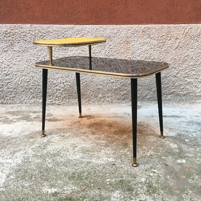 Mid-Century Modern Italian Black and Yellow Formica, Wood and Brass Coffee Table, 1960s For Sale