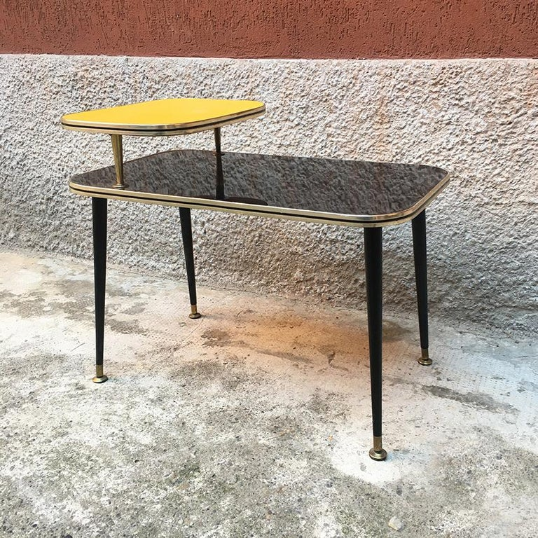 Polished Italian Black and Yellow Formica, Wood and Brass Coffee Table, 1960s For Sale