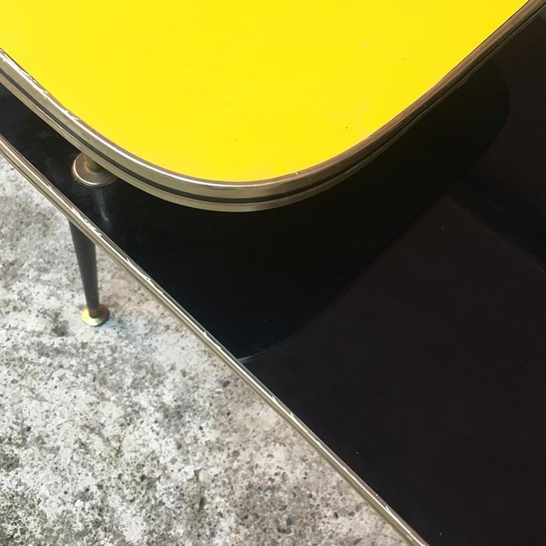 Italian Black and Yellow Formica, Wood and Brass Coffee Table, 1960s For Sale 1