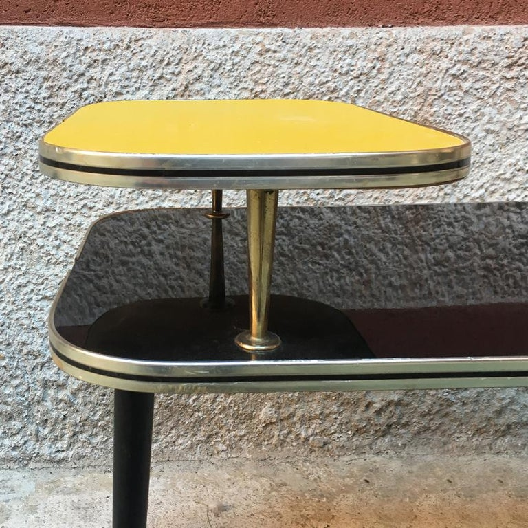 Italian Black and Yellow Formica, Wood and Brass Coffee Table, 1960s For Sale 2