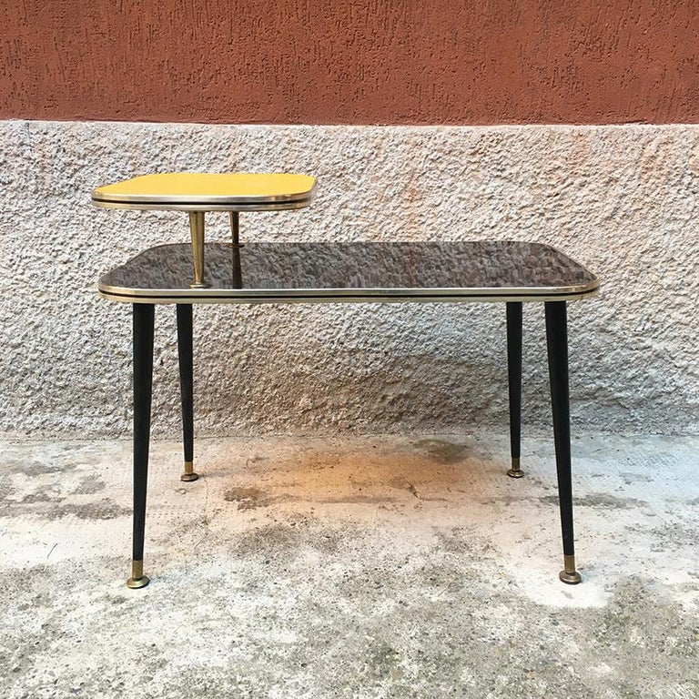 Italian Black and Yellow Formica, Wood and Brass Coffee Table, 1960s For Sale 3