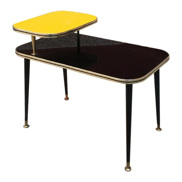 Italian Black and Yellow Formica, Wood and Brass Coffee Table, 1960s For Sale