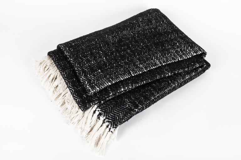 Super soft Italian black cashmere and cotton hand-loomed throw blanket with white fringe, contemporary.