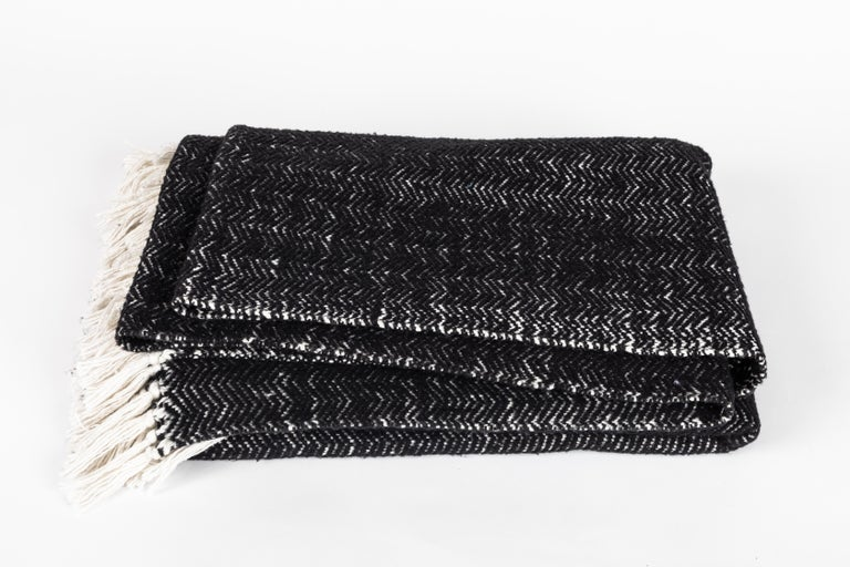 Hand-Woven Italian Black Cashmere and Cotton Hand-Loomed Throw Blanket For Sale