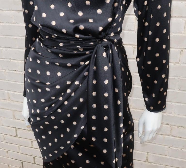 Italian Black Charmeuse Dress, 1980's 1