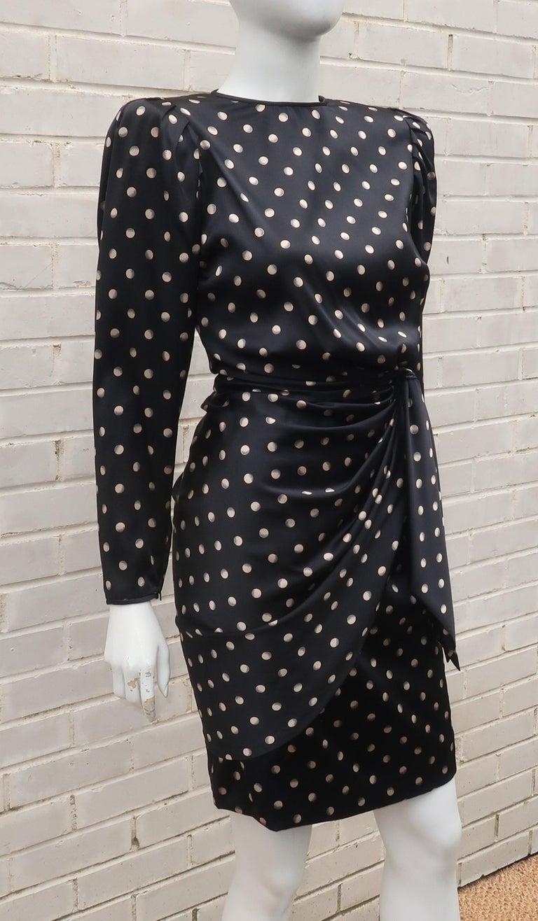 Italian Black Charmeuse Dress, 1980's 2