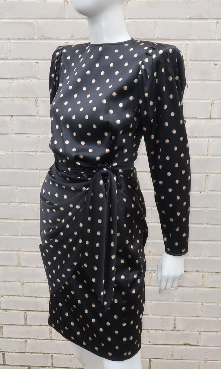 Italian Black Charmeuse Dress, 1980's 4