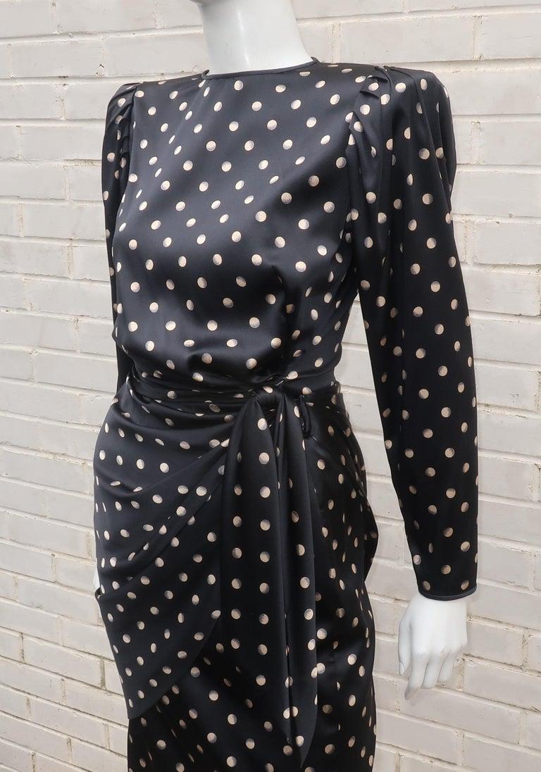 Italian Black Charmeuse Dress, 1980's 5