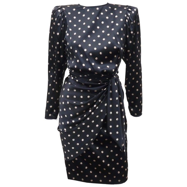 Italian Black Charmeuse Dress, 1980's